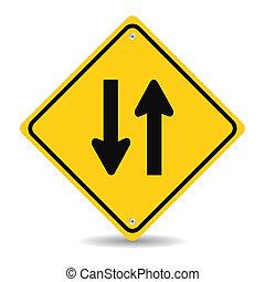 dois, maneira, tráfego, sinal, branca