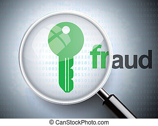magnifying optical glass with key icon and fraud word