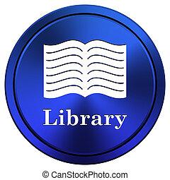 Library icon - Blue metallic icon Internet button on white...