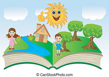 open book with children and summer landscape, vector...