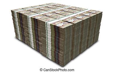 Canadian Dollar Notes Bundles Stack - A stack of bundled...