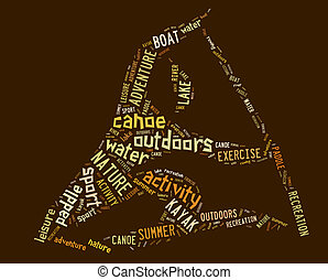 canoe pictogram with brown wordings on brown background
