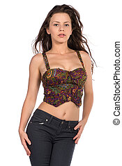 Bustier - Pretty petite brunette in a bustier top and jeans