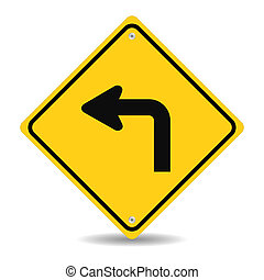 Turn left traffic sign siolated on white background