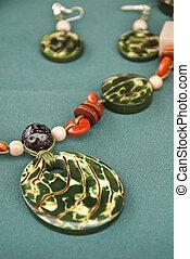 Green Tagua Nut Jewelry Set