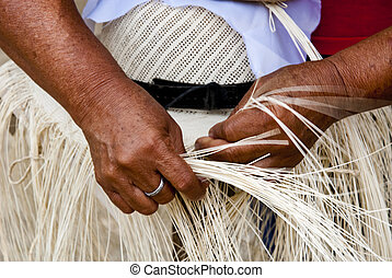 Manual Hat Weaving Process - Traditional Weaving Of...