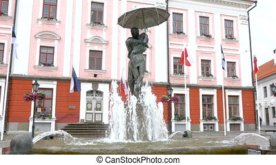 The fountain statue infront of the old city hall of Estonia...