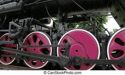The parts of the wheels of the locomotive train FS700...