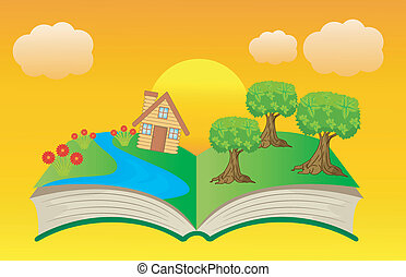 open book with summer landscape, vector illustration