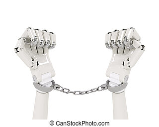Chained robot concept isolated on white