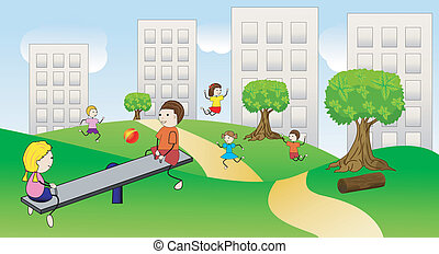 children play the green lawn near pitch houses, vector...