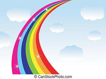 rainbow on a background blue sky,vector illustration