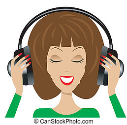 woman in headsets on a white background, vector illustration...