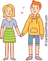Cute couple in love holding hands, cartoon characters vector illustration