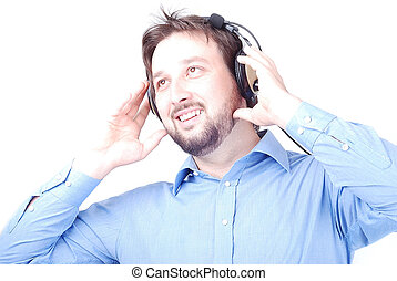Happy man with headphones - Hearphones on man\'s head with...