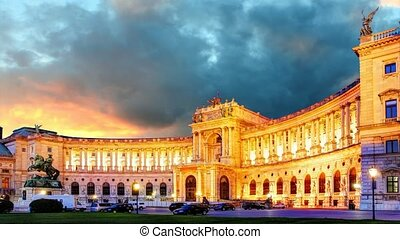 Vienna at sunrise - Hofburg, time lapse