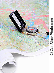 Compass in work - Maps, compass, gps and equipment isolated...