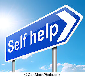 Self help concept - Illustration depicting a sign with a...