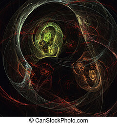 Ghosts - Original fractal design, abstract psychedelic art,...