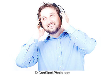 Young white beautiful man with headphones - Isolated white...