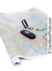 Maps, compass, gps and equipment isolated in white