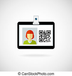 Identification card icon Vector illustration Lanyard visitor...