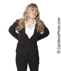 Young businesswoman with a sore back - Young businesswoman...