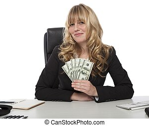 Proud successful businesswoman with dollars - Proud...