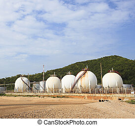 lpg gas tank storage in petrochemical heavy industry estate...