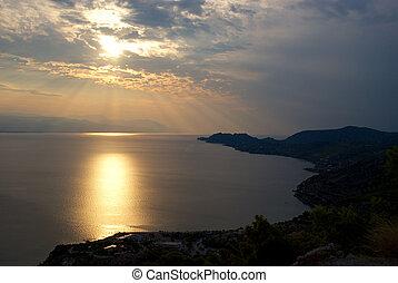 太陽, 夕方,  Corinth, 湾