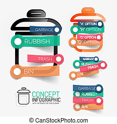 Vector rubbish bin infographic with stickers - Vector...
