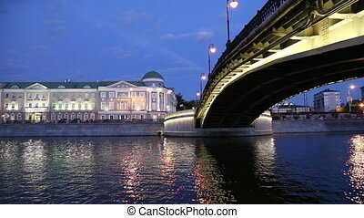 Luzhkov (Tretyakov) bridge, Night view, Moscow, Russia
