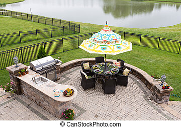 Outdoor living space ready for dinner - Outdoor living space...