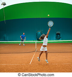 tennis school - Children at school during a dribble of...