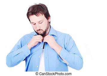 White man wearing blue shirt
