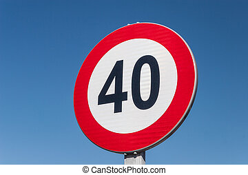 Speed limit sign - European Speed limit sign 40 km per hour
