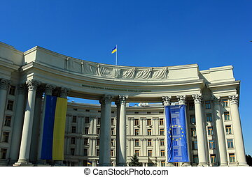 Ministry of Foreign Affairs - Flag on the building. Ministry...