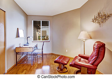 Office room with red comfortable chair for rest