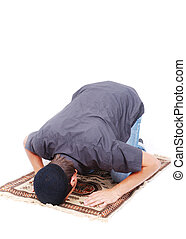 tradicional, homem, muçulmano, maneira, orando