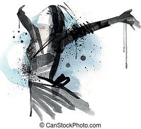 Fashion Illustration - Analog illustrated Fashion Model. No...