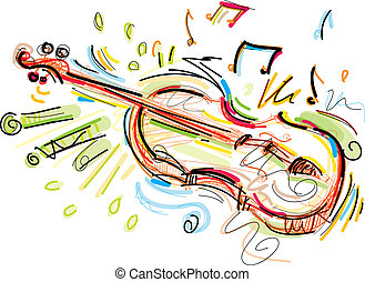 Sketchy Violin - This Violin Vector Image was digital...