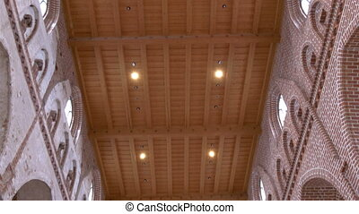 The view from the ceiling down to the floor of the church