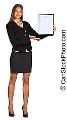 Businesswoman holding paper holder in his hands. Isolated on...