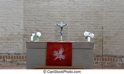 Closer look of the altar in the church in Estonia