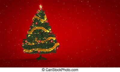 Christmas Tree on red background - Rotating Christmas Tree...