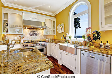 Bright yellow kitchen room with granite tops and arch window...