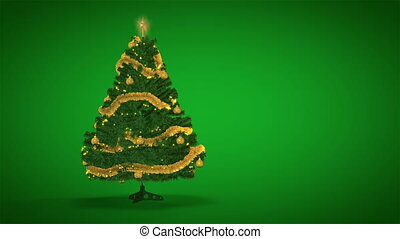 Christmas Tree on green background - Gold Christmas Tree on...