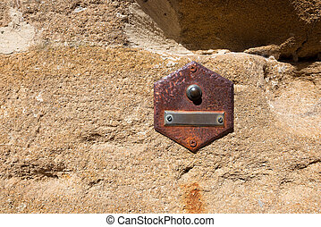 Old Doorbell on Wall - Tuscany Italy - Rusty doorbell button...