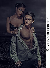 Sexy Young Couple Fashion Photo, Isolated Dark Gloomy...