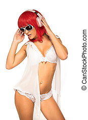 Lady in Fashion Shoot Wearing Sexy Underwear - Red Hair Lady...